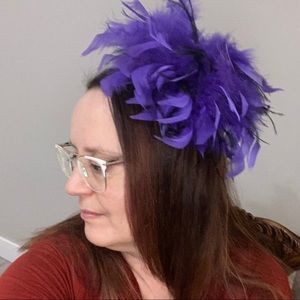 large feather hair clip purple black fascinator